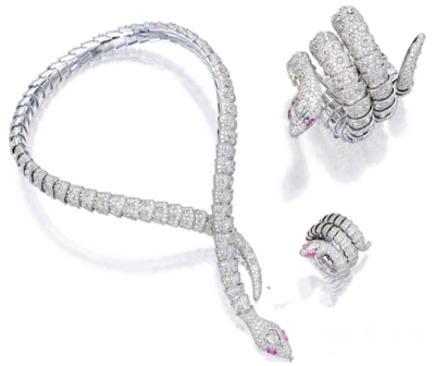 钻石配粉红色刚玉「Serpente」项链、手链及戒指套装,81.25万港元成交