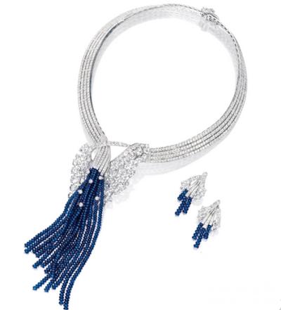 蓝宝石配钻石项链及耳环套装,梵克雅宝VCA (Van Cleef & Arpels) ,476万港元成交